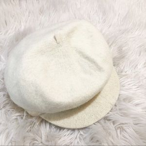 Nine West Wool Newsboy Cap Cream